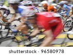 Blur motion.Cyclists from various teams at the le Tour de Langkawi race - stock photo