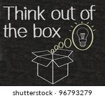 thinking outside the box written on blackboard background - stock photo
