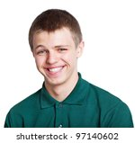 portrait of a cheerful young man with a very short hair ,over white - stock photo