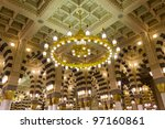 AL MADINAH, KINGDOM OF SAUDI ARABIA-FEB. 19: Interior of Masjid (mosque) Nabawi on February 19, 2012 in Al Madinah, S. Arabia. Nabawi mosque is the 2nd holiest mosque in Islam. - stock photo