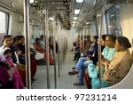 DELHI, INDIA - FEB 03, 2012: Women-Only Subway Cars on Feb 03, 2012 in Delhi. Delhi Metro network consists of six lines with a total length of 189.63 kilometres (117.83 mi) with 142 stations - stock photo