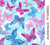Seamless pattern with butterflies in blue and pink - stock vector