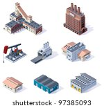 Vector isometric buildings. Industrial - stock vector