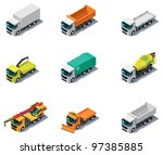 Vector isometric transport. Trucks - stock vector