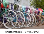 Indonesian bicycles - stock photo