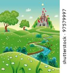 Panorama with castle. Cartoon and vector illustration. - stock vector