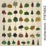 Set of retro trees. Vector - stock vector