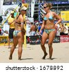 2006 AVP pro beach volleyball tournament at Manhattan Beach, CA - stock photo