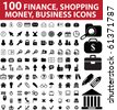 100 finance, shopping, money, business icons. raster version - stock photo