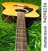 Acoustic guitar in green grass - stock photo