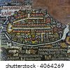 Antique mosaic Jerusalem map. Photo from old reproduction of