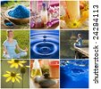 beautiful colorful spa collage made from nine photographs - stock photo