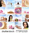 Beautiful spa collage made of many elements - stock photo