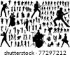 Black silhouettes of musicians - stock photo