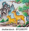 chinese mountain deer painting on wall in chinese temple - stock photo