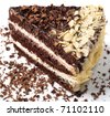 Chocolate cake with almonds closeup - stock photo