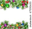 Christmas background with decorated branches of Christmas tree. - stock photo