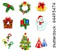 christmas icons - stock photo