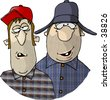 Clipart illustration of two rednecks - stock photo