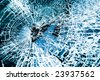Close-up at broken car windshield. Tint blue - stock photo