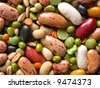 close-up of dried legumes and cereals - stock photo