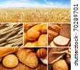 collage of assortment of baked bread on wood table - stock photo