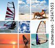 Collage of images on a summer sports theme. Surfing - stock photo