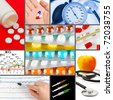 Collage of medical images (my photos) - health background - stock photo