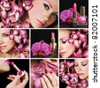 Collage of several photos beauty industry - stock photo