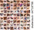 collection of 81 pictures of woman eyes with artistic make-up, models of different ethnicities. - stock photo