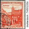 COLOMBIA - CIRCA 1954: A stamp printed in Colombia shows Santuario de las Lajas, Narino, circa 1954 - stock photo