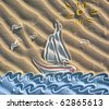 Colored drawing of sailboat on sand - stock photo