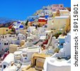 colored romantic Santorini - stock photo