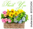 colorful flowers. thank you. card concept - stock photo
