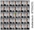 Composition of different expressions of the same businessman - stock photo