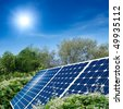 Concept of solar panel harness energy of the sun. Green environment. - stock photo