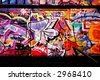 Crazy Graffiti perspective and shadows - stock photo