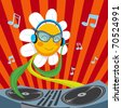 Cute active Dj Daisy Flower mixing music for spring party - stock photo