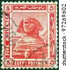 EGYPT - CIRCA 1914: A stamp printed in Egypt shows the Great Sphinx of Giza, circa 1914. - stock photo