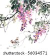 flower painting .Traditional Chinese Painting. - stock photo