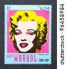 FRANCE – CIRCA 2003: a postage stamp printed in France showing an image of Marilyn Monroe by Andy Warhol, circa 2003 - stock photo