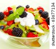 Fresh fruits salad with mint- Healthy Eating - stock photo