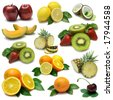 Fruit sampler with clipping path - stock photo