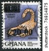 GHANA - CIRCA 1988: A stamp printed in the Ghana, represented Scorpio (overprint), circa 1988 - stock photo