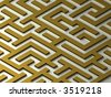 Gold Labyrinth. Maze. 3D image. - stock photo