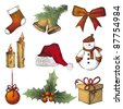 hand drawn Christmas icons - stock photo