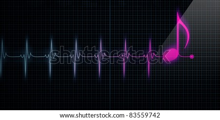 Horizontal Pulse Trace Heart Monitor with pink music note in line ...