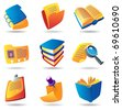 Icons for books and papers. Raster version. Vector version is also available. - stock photo