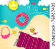 Illustration hand drawn style of cute summer seashore - stock photo