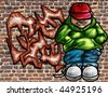 Illustration of graffiti art on an old brick wall - stock photo